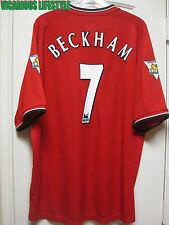BECKHAM #7 Manchester United 2000/2002 Home Short-Sleeves Shirt Jersey XXL