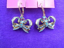 Betsey Johnson Authentic NWT Imperial Princess Blue Crystal Bow Drop Earrings