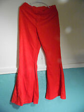 Vintage Bell Bottom Red Pants Buttons on Side  Medium