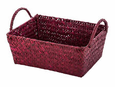Set of 3 Burgundy Rectangular Seagrass Storage Basket