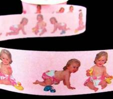 "5 Yds Baby Girl Pictures Pink Acetate Ribbon 1 7/16""W"