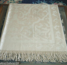 "Sferra Amaro Damask Throw Merino Wool/Silk in Tan Fringed 51x71"" New"