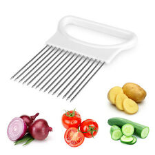 New Stainless Steel+Plastic Easy Cut Onion Holder Vegetable Slicer Tomato Cutter