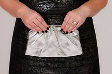 Vintage metallic silver faux leather clutch bag / evening bag wedding prom party