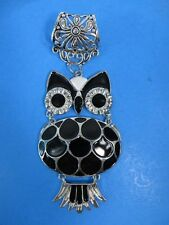 owl scarf pendant and slide tube set for DIY necklace jewelry scarf