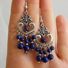 925 Sterling Silver Hook dark Blue Lapis Lazuli stone Chandelier Earrings