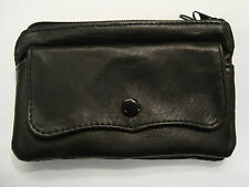 Soft Leather Ladies Purse with Flap Compact Size Hand Crafted Black