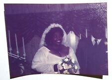 FOUND COLOR PHOTO BLACK AFRICAN WEDDING PARTY BUCK TOOTH BRIDE SMILING W/ FLOWER