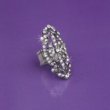 Victorian Filigree With Swarovski Crystal Stretch Ring NEW Rhinestones Heirloom