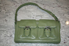 "Leather Cole Haan Green Purse Clutch 10""W x 6"" Tallx 2"" deep with 8"" Strap Drop"