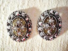 UNIQUE CRYSTAL STUDDED OPEN CENTER OVAL VICTORIAN STYLE PIERCED POST EARRINGS