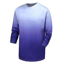 Gradient t-shirt men polyester quick dry long sleeve muscle fit top tee XXL size