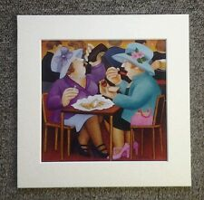 """BERYL COOK""""LADIES DOING LUNCH"""" MOUNTED CARD 8 X 8 FUNNY"""