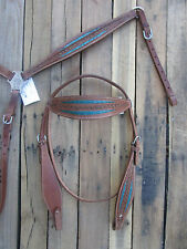 TURQUOISE BLUE SHOW WESTERN HEADSTALL BREASTCOLLAR LEATHER PLEASURE HORSE BRIDLE