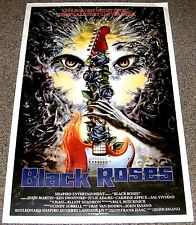 BLACK ROSES 1987 ORIGINAL 27x41 MOVIE POSTER! ROCK 'N ROLL GUITAR HORROR ART!