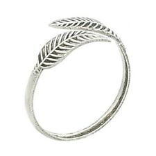 Toe ring sterling silver antique Curved Leaves  adjustable 4mm wide stamped 925