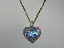 LOVELY BLUE PINK CLEAR LAMP WORK GLASS HEART PENDANT GOLD PLATED CHAIN