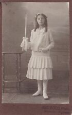 Antique CDV Photo - Pretty Girl, Communion, Tiered Dress, Candle, Laced Boots