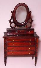WALNUT VICTORIAN DRESSER WITH MIRROR DOLL HOUSE FURNITURE MINIATURES