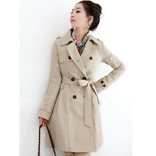Womens Elegant Slim Long Parka Double Breasted Belted Trench Coat Jacket Outwear