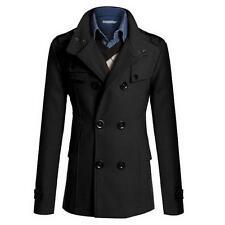 Men's Coat Double Breasted Peacoat Long Jacket Winter Dress Top
