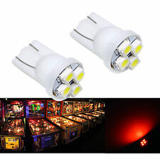 10x #555 T10 4 SMD LED Pinball Machine Light Bulb Red AC/ DC 6.3V