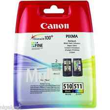 2 X BLACK + 1 X COLOUR PG-510 CL-511 PIXMA MP270 MP272 Original Ink Cartridges