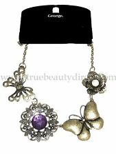 GEORGE VINTAGE NECKLACE BUTTERFLIES FLOWERS COSTUME JEWELLERY BARGAINS IN SHOP