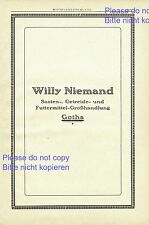 Animal Feed Willy Niemand Gotha XXL ad 1925 Germany German advertising seed +