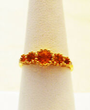 Genuine Citrine, Deep Amber color  5 stone ring 1.45 ctw solid 10Kt Yellow Gold