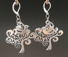 LGL Celtic Sterling 925 Leverback Earrings erg1171  Tree of Life and Peace Dove