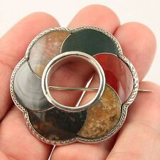 Superb antique Victorian c 1890 sterling silver Scottish agate pebble brooch pin