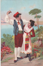 ITALY POSTCARD MAN AND WOMAN IN TRADITIONAL DRESS 1900-1920