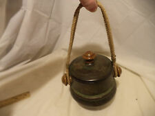 "Hanging Flower Pot 1960's w Lid 6"" x 5.5"""