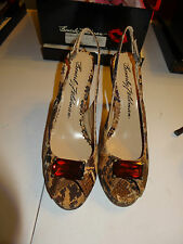 "Beverly Feldman 4"" Heel Peep Toe Strap Back Ladie Shoes Size 8.5M Cork Snake NEW"