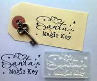 Santa's Magic Key, Christmas Clear Craft Stamp for Handmade Tags and Cards