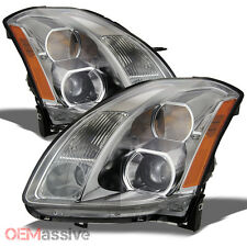 Fits 04-06 Maxima Halogen Type Amber Chrome Clear Projector Headlights Lamps