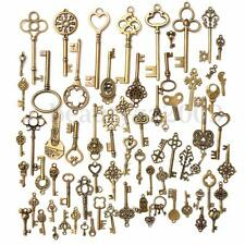Set Of 70 Vintage Antique Old Look Bronze Skeleton Keys Fancy Heart Bow Pendants