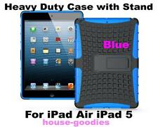 Blue Durable Heavy Duty Strong Tradesman Hard TPU Case Cover Stand for iPad Air