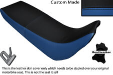 BLACK AND ROYAL BLUE CUSTOM FITS YAMAHA XT 600 E 96-04 DUAL LEATHER SEAT COVER