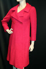 XS~S Raspberry Nubby Wool Saks Fifth Ave Vtg 60s Empire Double Brstd Dress Coat