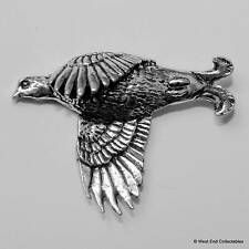 Flying Grouse Pewter Pin Brooch - British Made - Shotgun Game Hunting Bird