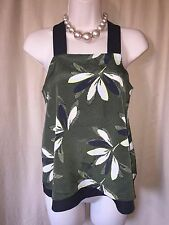 RIVER ISLAND  green black strappy evening vest top size 6 wore once