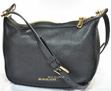NWT MICHAEL KORS BLACK RAVEN PEBBLED LEATHER CROSSBODY BAG MSRP $298.00 #305M