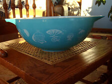 PYREX 4 QUART 444 CINDERELLA HOT AIR BALLOON TURQUOISE BOWL NICE