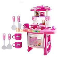 Children Kids Pink Kitchen Cooking Pretend Play Toy Set With Vivid Sound + Light