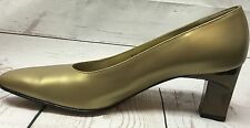 Salvatore Ferragamo 8 AA Narrow Gold W/ Mirrored Bronze Block Heel Pump Women