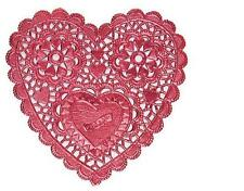 """VALENTINES DAY 6"""" RED FOIL HEART DOILIES LOT 4 PksX 15Ct= 60 CT 2nds tinyletters"""