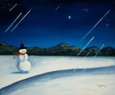 Oil Painting on Canvas, Snowy Landscape with Snowman, Signed