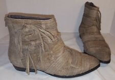 ANTHROPOLOGIE FREE PEOPLE TAUPE DECADES RAW SUEDE ANKLE BOOTS US 8 EUR 38